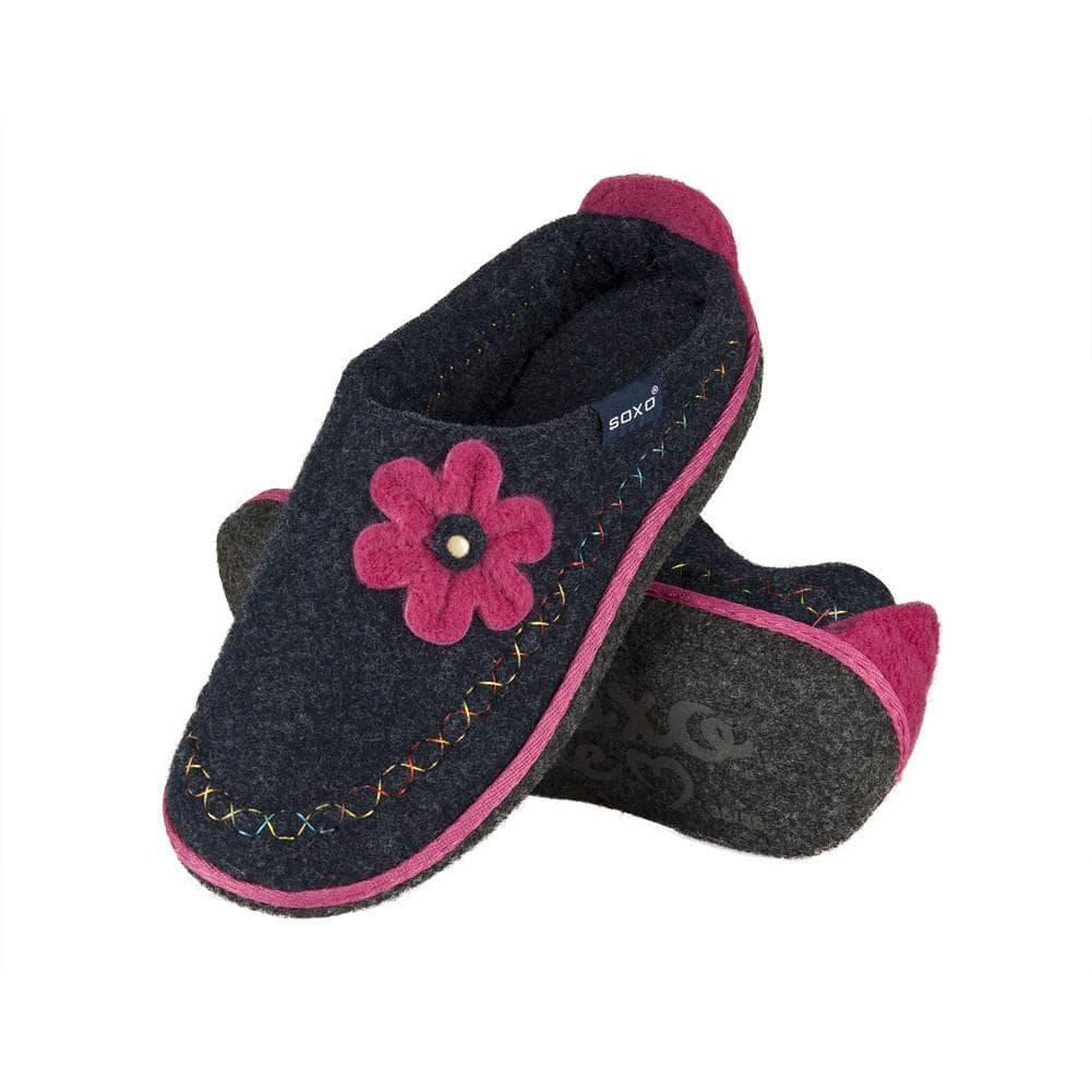 Pantofole da donna SOXO di feltro con il fiore suola ABS blu DONNA ... 74fd3e03b26f