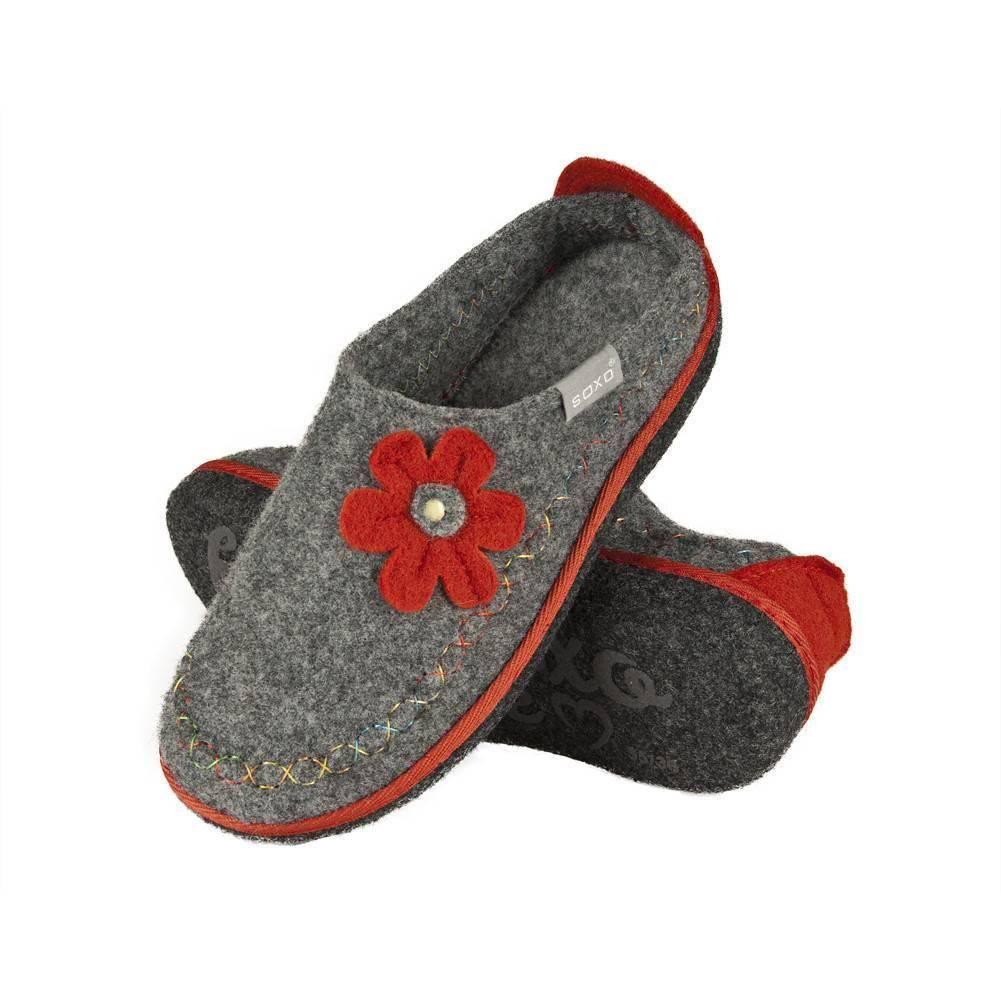 nuovo di zecca a piedi a Prezzo del 50% Pantofole da donna SOXO di feltro con il fiore suola ABS grigio