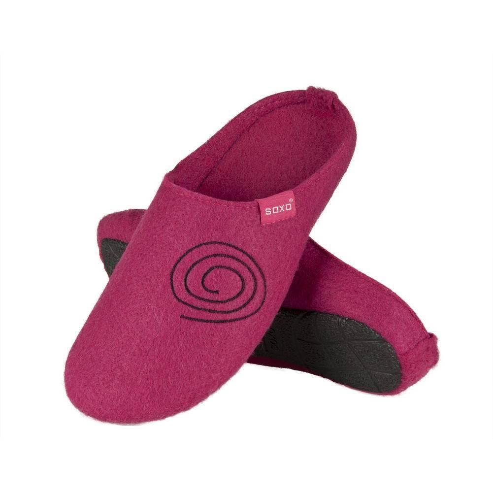 2019 prezzo all'ingrosso sconto del 50 negozio di sconto Pantofole da donna SOXO di feltro con ricamo suola TPR fuchsia
