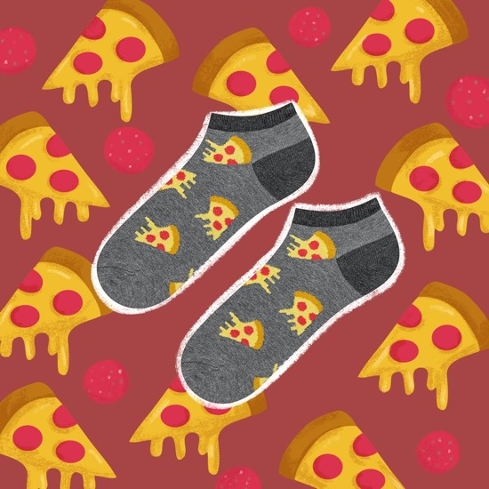 Mens footies SOXO pizza, fastfood, birra, uova strapazzate con pancetta - 5 paia