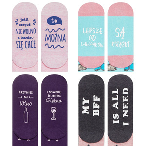 "SOXO Women's socks ""Life Instructions"" - set of 4 pairs"